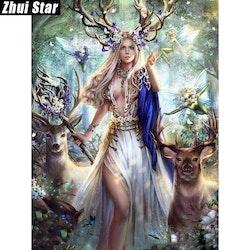 Diamanttavla Beauty And Deer 40x50