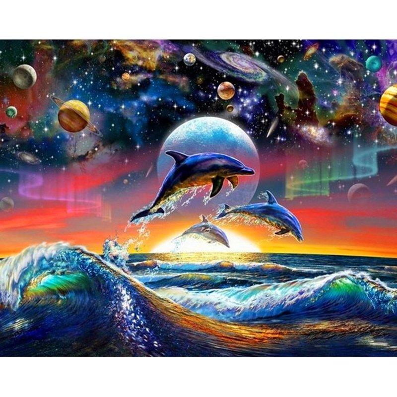 Diamanttavla Galaxy Dolphins 50x70