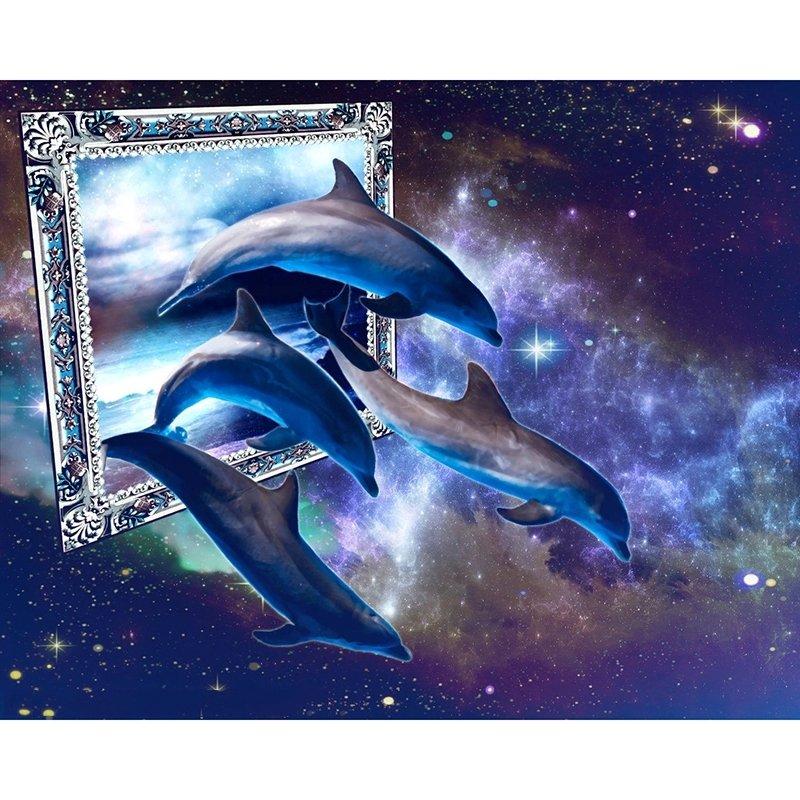 Diamanttavla Dolphins Mirror 60x80 - Leveranstid 1-3 Dagar