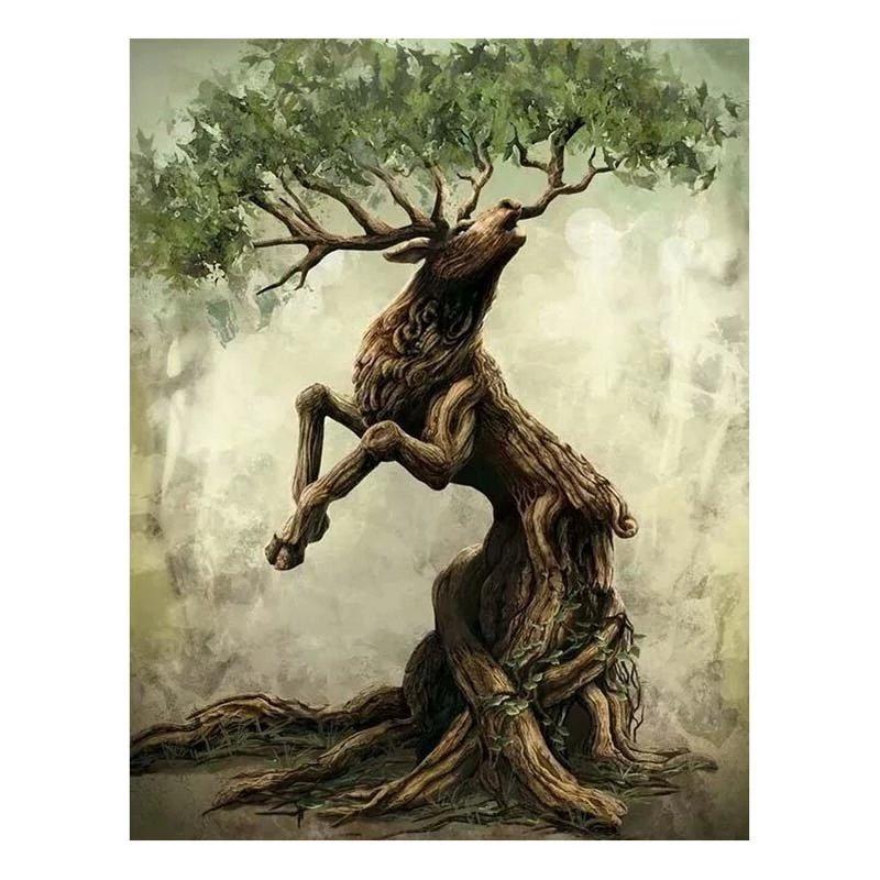 Diamanttavla Deer Tree 40x50