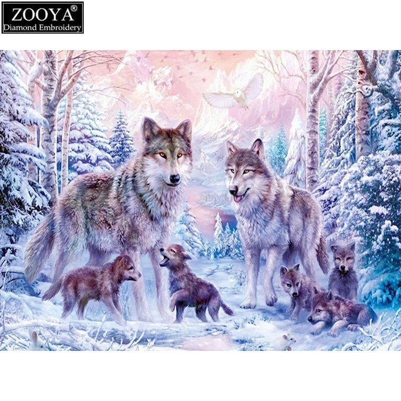 Diamanttavla Wolf Family 50x70