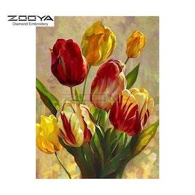 Diamanttavla Tulip Flowers 30x40