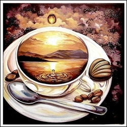 Diamanttavla Coffee Sunset 40x40