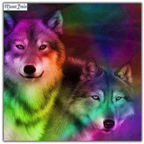 Diamanttavla Wolf Colorful 40x40