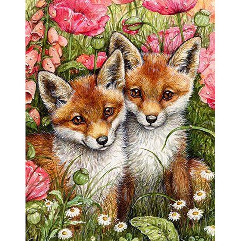 SNART I BUTIK - Diamanttavla Fox Puppies 40x50