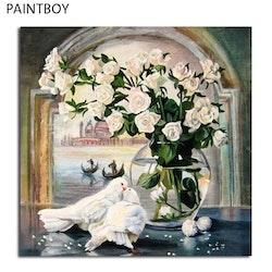 Paint By Numbers Duvor Med Vita Rosor 40x50
