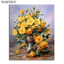 Paint By Numbers Gula Rosor I Vas 40x50