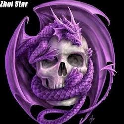 Diamanttavla Purple Dragon Skull 50x50