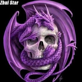 Diamanttavla (R) Purple Dragon Skull 40x40