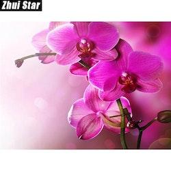 Diamanttavla Pink Orchid  30x40