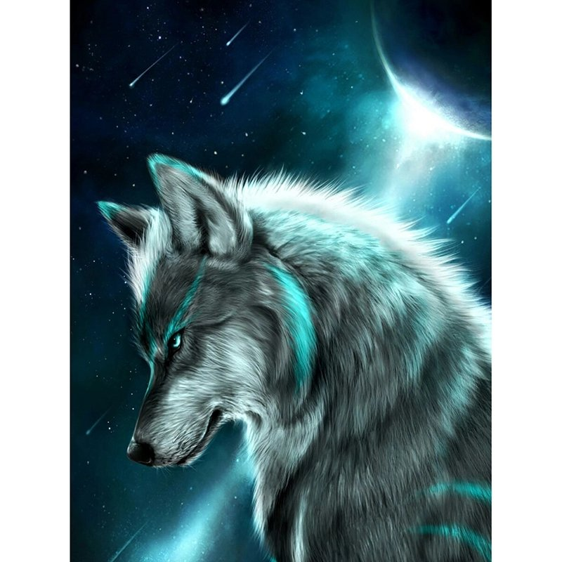 Diamanttavla Wolf Galaxy  40x50