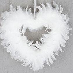 Fjäderhjärta Vit 28 cm