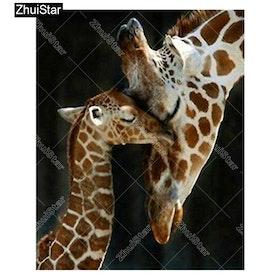 Diamanttavla Giraffer 30x40
