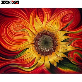 Diamanttavla Colorful Sunflower 40x50