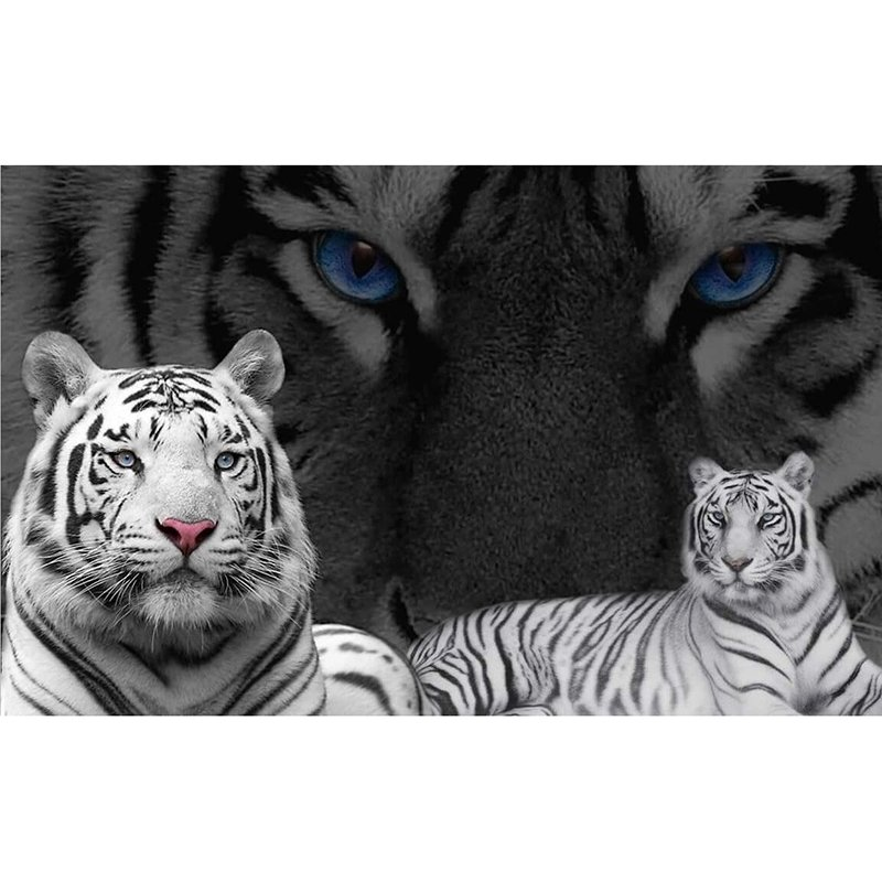 Diamanttavlor tigers black and white. Diamond painting sverige