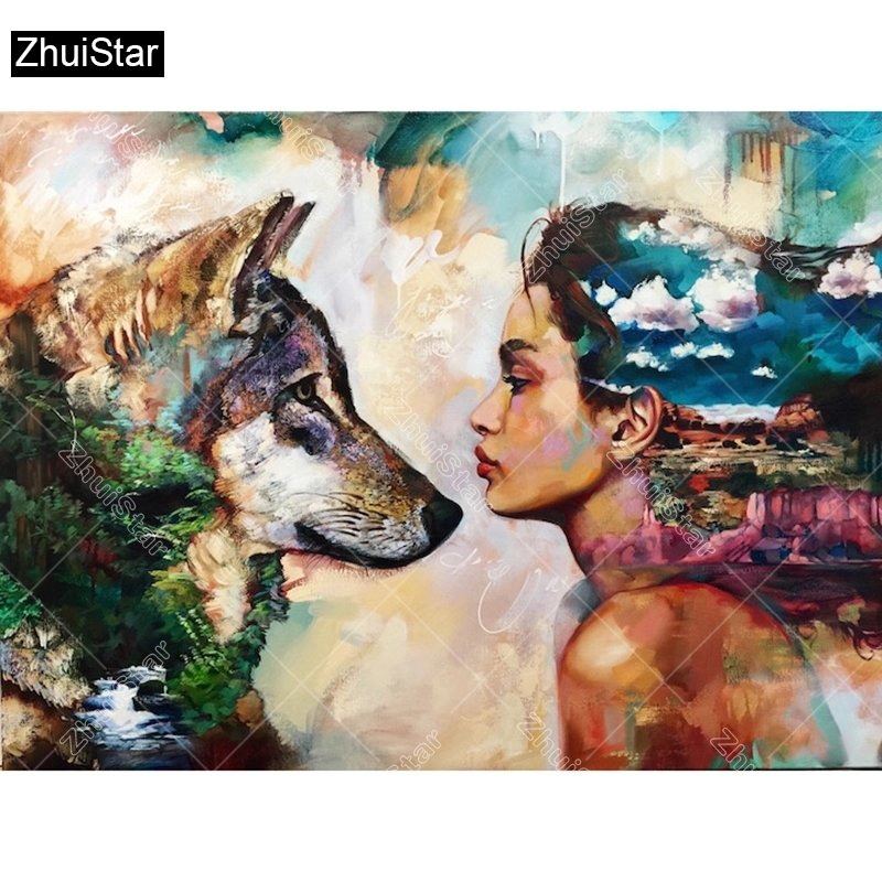 Diamanttavla Wolf And Girl 40x50