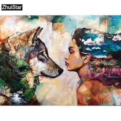Diamanttavla Wolf And Girl 40x50