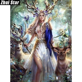 Diamanttavla Beauty And Deer 50x70