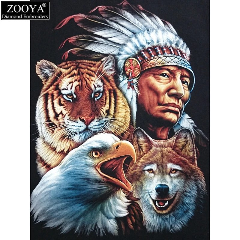 Diamanttavla Indian With Wild Animals 40x50