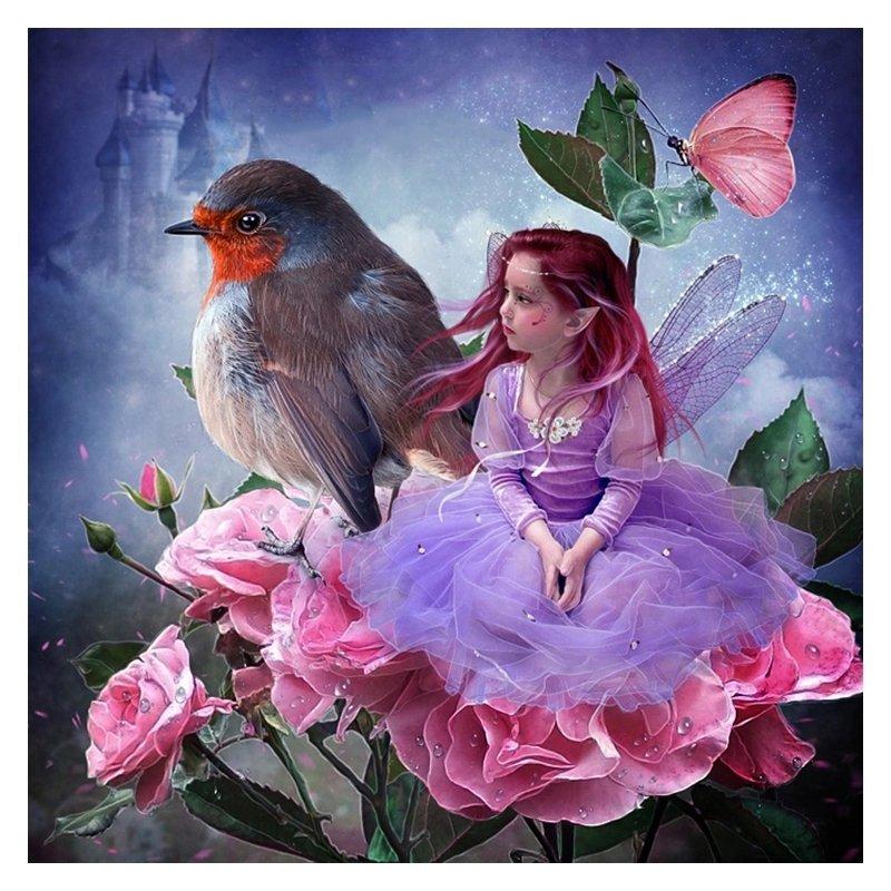 Diamanttavla ( R ) Fairy And Bird 40x40