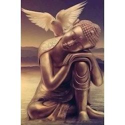 Diamanttavla Buddha And Pigeon 40x50