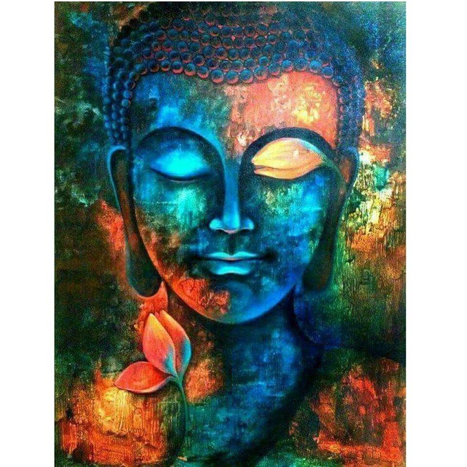 Diamanttavla Buddha I Varma Färger 40x50