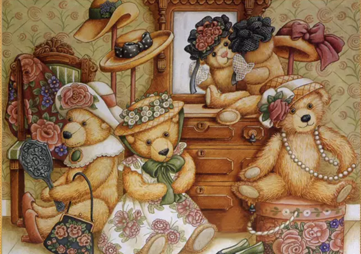 Diamanttavla Teddy Bear Family 40x50