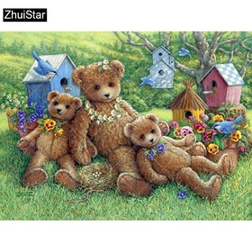 Diamanttavla Bear And Birds 40x50