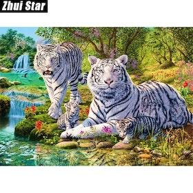Diamanttavla White Tiger Family 40x50