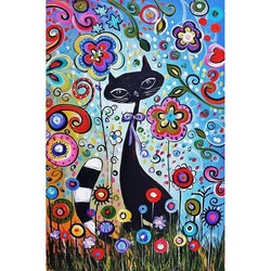 Diamanttavla Flower Cat 40x50