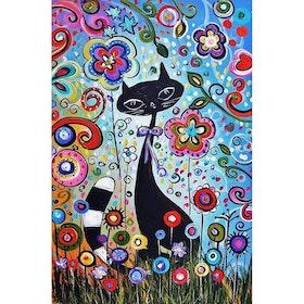 Diamanttavla Flower Cat 40x50