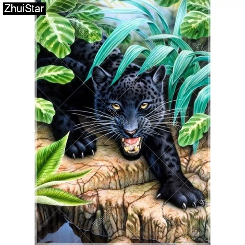 Diamanttavla Panther In Wood 40x50.