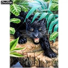 Diamanttavla (R) Panther In Wood 40x50.