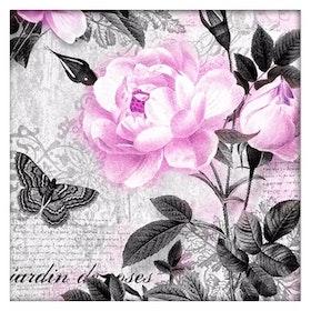 Diamanttavla Pink Flower Butterfly 40x40.