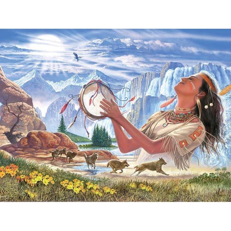 Diamanttavla Indianwoman Nature Calling 40x50.