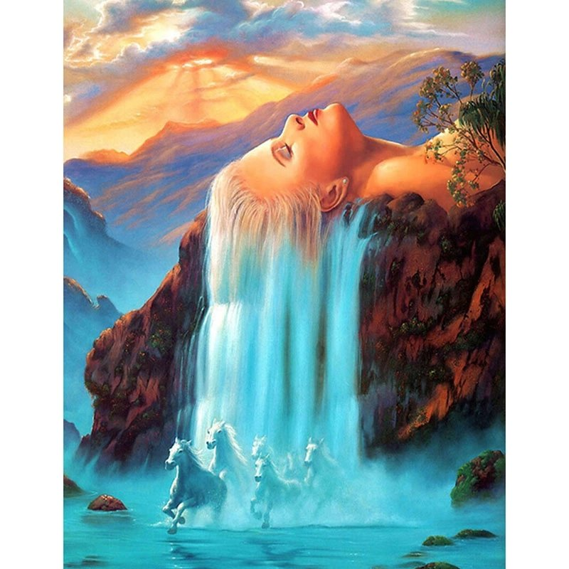 Diamanttavla Woman Waterfall 50x70
