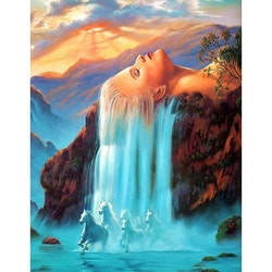 Diamanttavla (R) Woman Waterfall 50x70