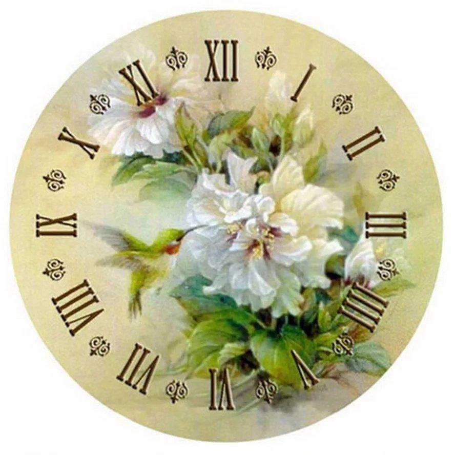 Diamanttavla (R) Klocka Kolibri 40x40