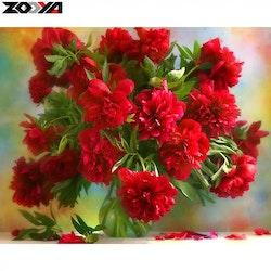 Diamanttavla Röda Pioner 40x40