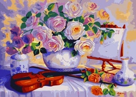 Paint By Numbers Violin And Flower 40x50