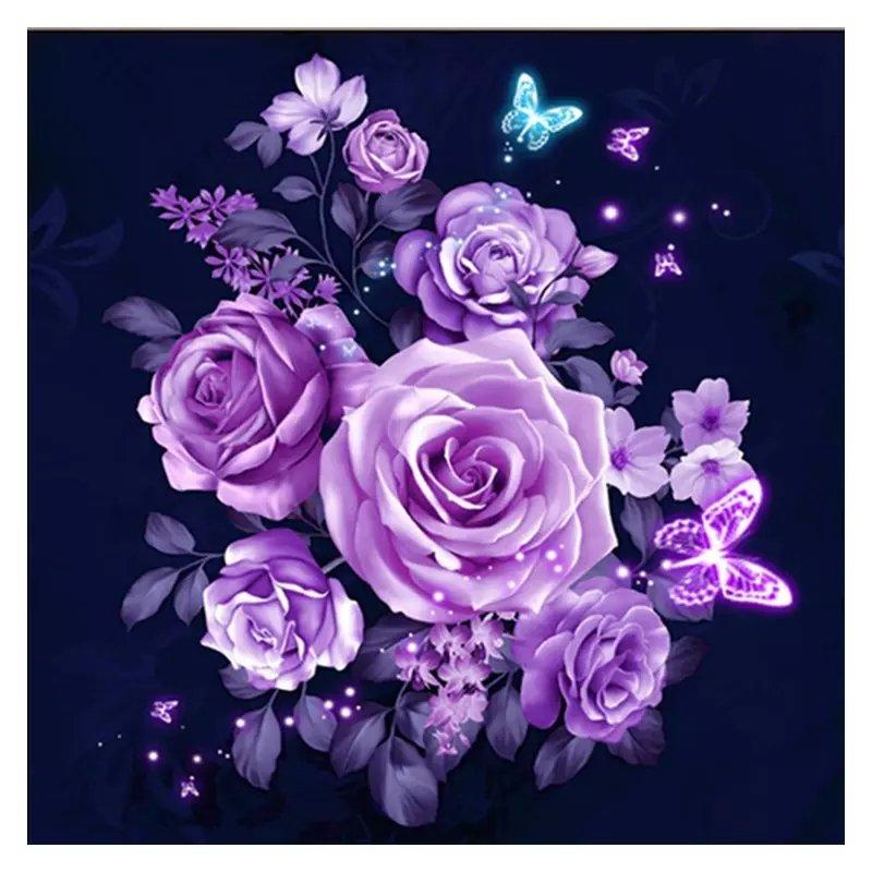 SNART I BUTIK - Diamanttavla Purple Rose Dream 40x40