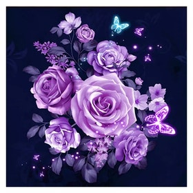 Diamanttavla Purple Rose Dream 40x40