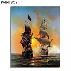 Paint By Numbers Two Ships 40x50