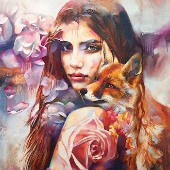 Diamanttavla Beauty And Fox 40x50