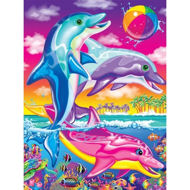 Diamanttavla Colorful Dolphins 30x40