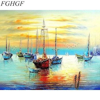 Paint By Numbers Sunset Sailboats 40x50 - Leveranstid 1-3 Dagar