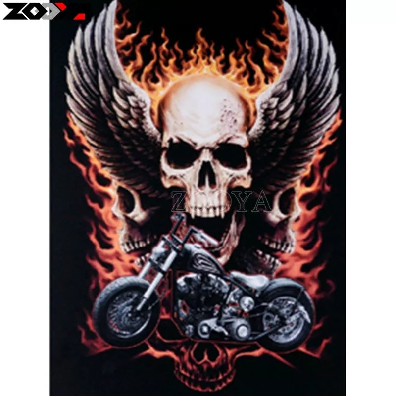 Diamanttavla Bike Skull 40x50