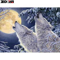 Diamanttavla Moonwolves 40x50