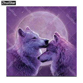 Diamanttavla Wolf Purple Moon 40x40