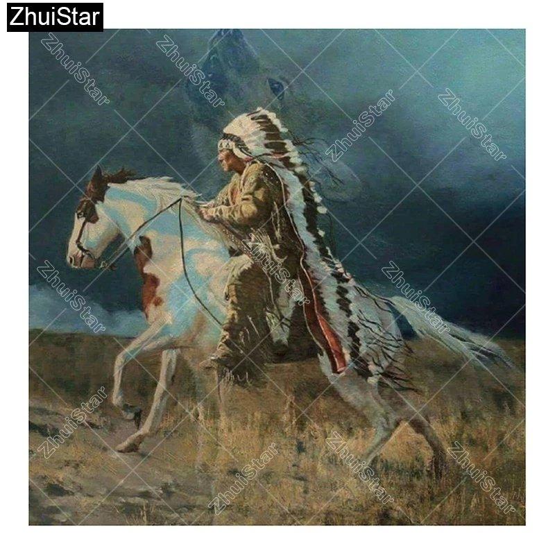 Diamanttavla  Indian On Horseback 50x50